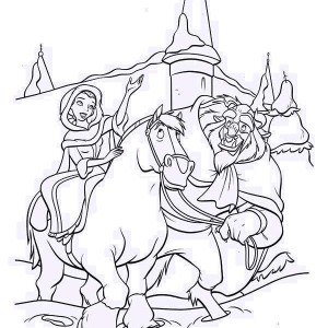 Belle Riding The Horse With The Beast On Her Side Coloring Page