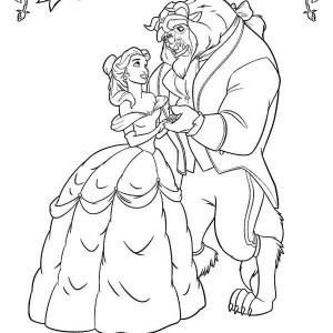 Belle And The Beast Dancing In The Garden Coloring Page