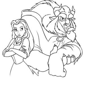 Belle And The Beast Are Angry To Each Other Coloring Page