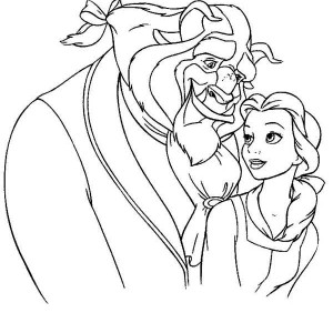 Belle And The Beast Are Meant Together Coloring Page
