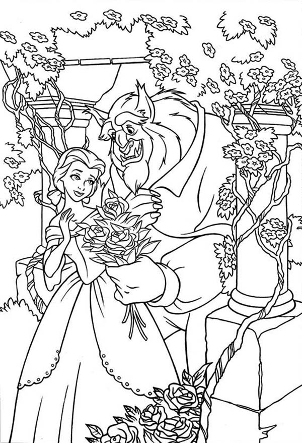 Belle and the Beast in the Rose Garden Coloring Page ...Beauty And The Beast Coloring Page Beast