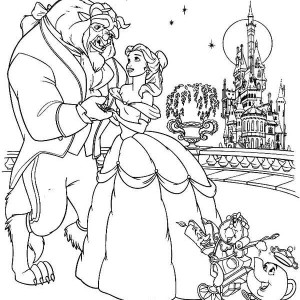 Belle And The Best Dancing In The Castle Balcony Coloring Page