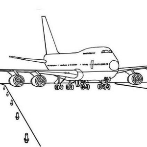 Boeing 747 Airplane Ready For Take Off Coloring Page