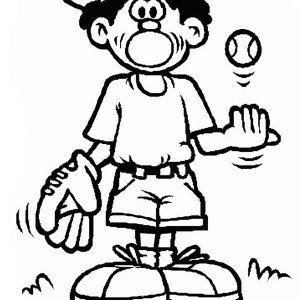 Boy With Baseball Ball And Glove Coloring Page