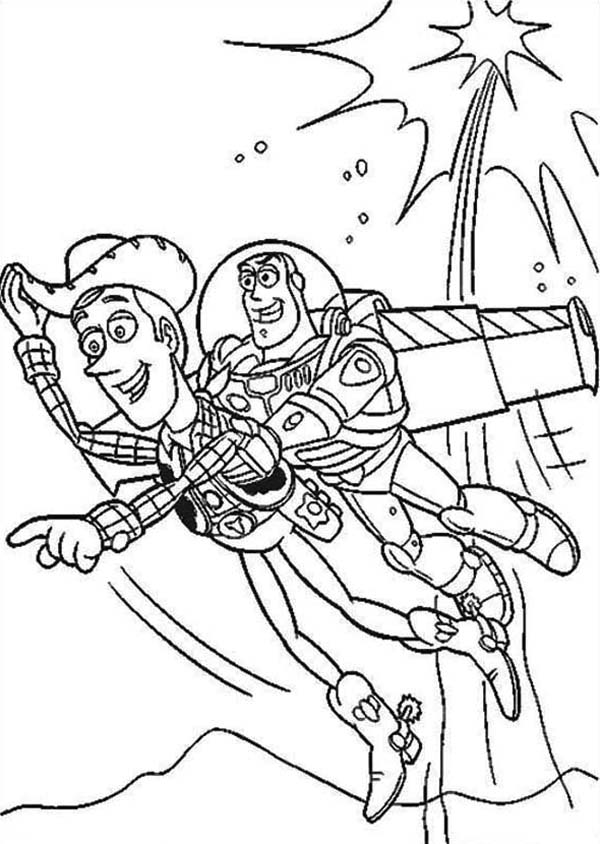buzz bunny christmas coloring pages | Buzz Helps Woddy By Flying In Toy Story Coloring Page ...