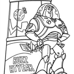 Buzz Lightyear In Front Of Toy Machine In Toy Story Coloring Page