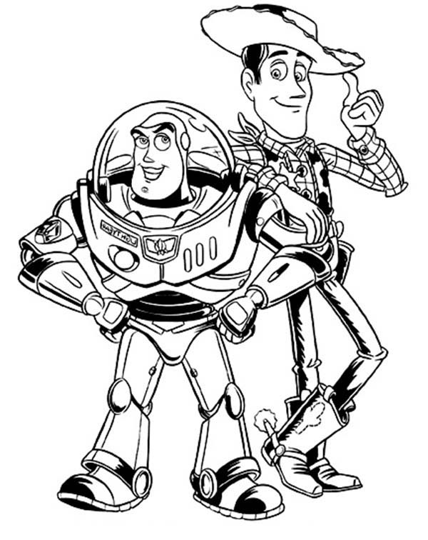 Buzz Lightyear And Woddy In Toy Story Coloring Page Download