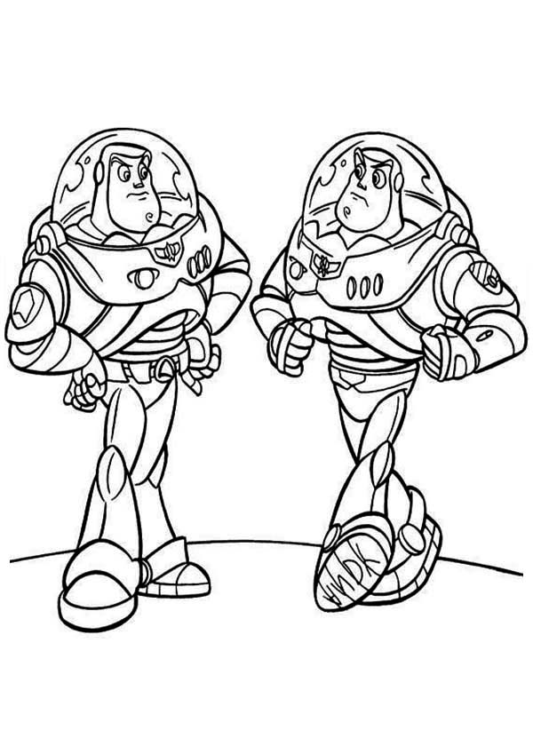 buzz bunny christmas coloring pages | Buzz Meet His Twin In Toy Story Coloring Page - Download ...