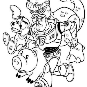 Buzz, Rex, Slinky Dog And Mr Potato Head In Toy Story Coloring Page