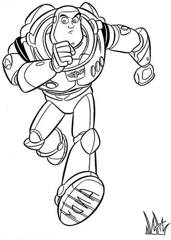 Buzz Is Running To Save Woddy In Toy Story Coloring Page ...
