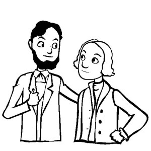Caricature Of Lincoln And Washington For Presidents Day Coloring Page