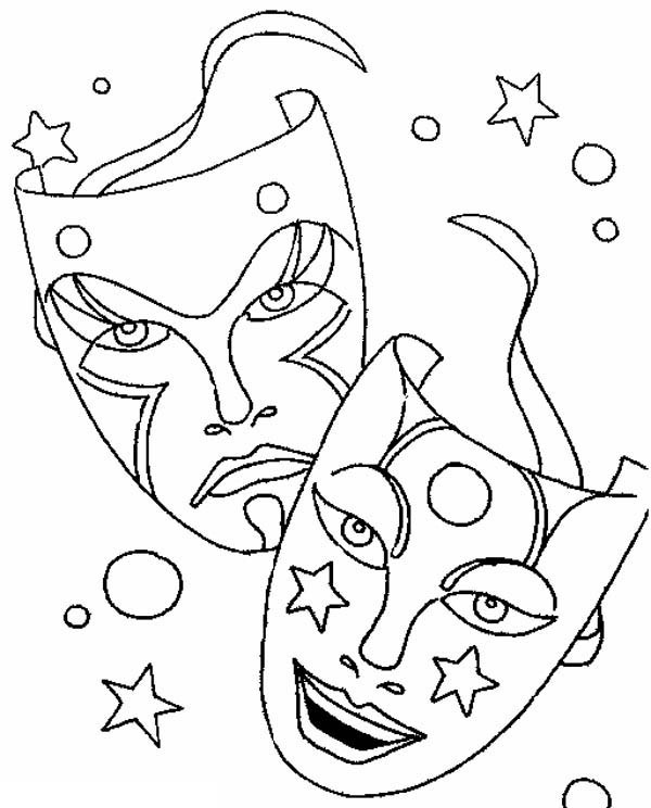 Comedy Tragedy Mask as Mardi Gras Symbol Coloring Page - Download ...