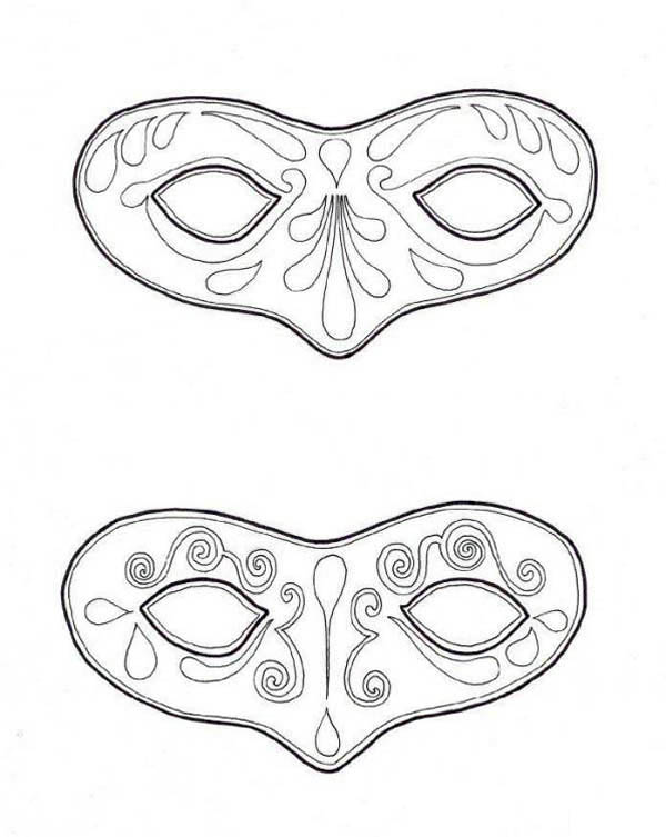 couple of mask to wear on mardi gras coloring page download