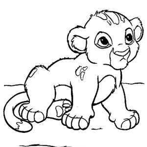Cute Little Simba Coloring Page