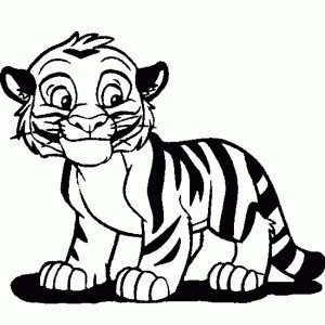 Cute Tiger Cub In Cartoon Coloring Page