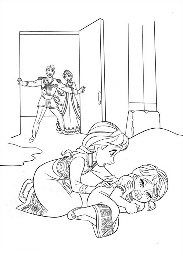 Kleurplaat Elsa Kerst Elsa Accidentally Struck Anna While Playing Coloring Page