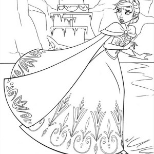 Elsa Running On The Frozen Lake Coloring Page