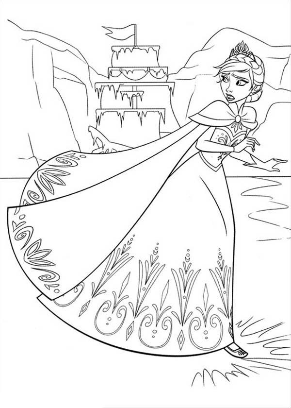 Elsa Running On The Frozen Lake Coloring Page Download