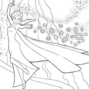 Elsa The Snow Queen Showing Her Magic Coloring Page