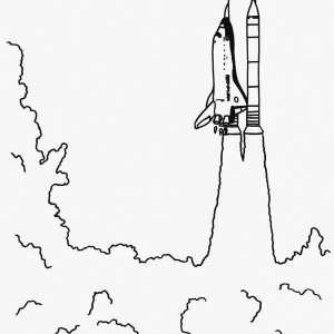 Extremely Huge Blast Rocket Launching Coloring Page