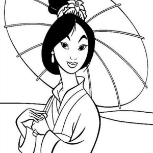 Fa Mulan In Traditional Chinese Dress Coloring Page
