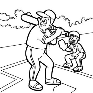 Father And Son Baseball Coloring Page