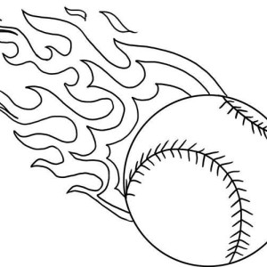 Fire Baseball Coloring Page