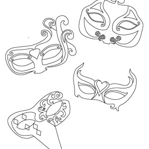 Four Types Of Mardi Gras Mask For Different Character Coloring Page