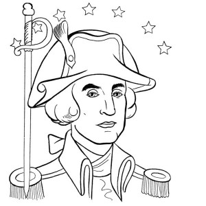 General George Washington On Presidents Day Celebration Coloring Page