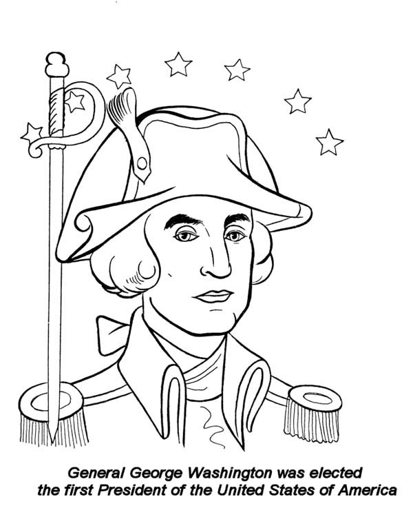 General George Washington On Presidents Day Celebration Coloring