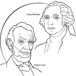 George Washington And Abraham Lincoln For Presidents Day Coloring Page