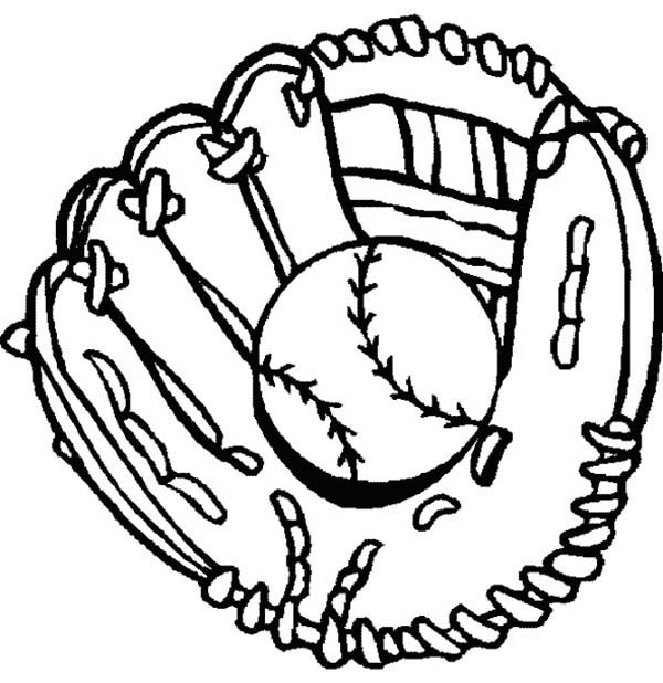 Glove and Baseball Coloring Page