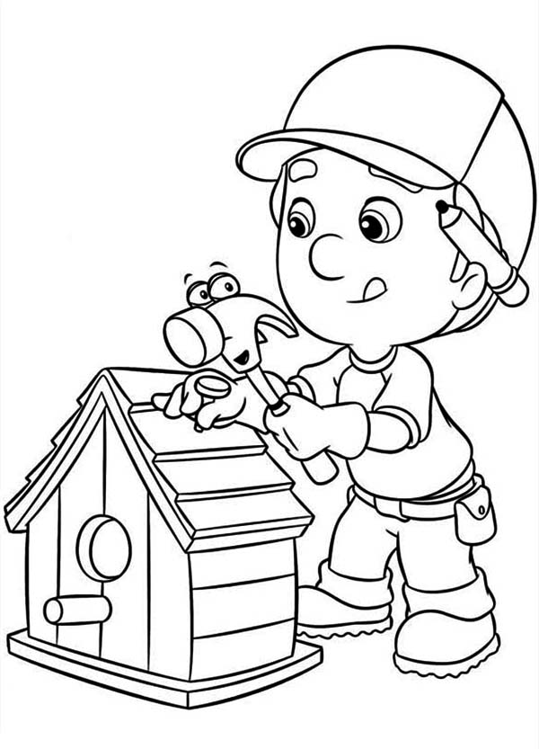 Handy Manny Making Bird House Coloring Page Download Print - Handy-manny-coloring-page
