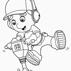 Handy Manny Using Drill Machine Coloring Page