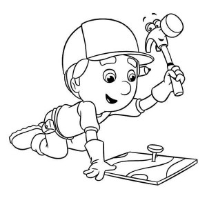 Handy Manny Using Pat The Hammer Coloring Page