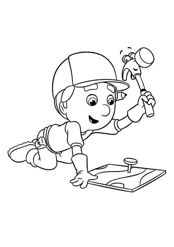 Handy Manny Using Pat The Hammer Coloring Page - Download ...