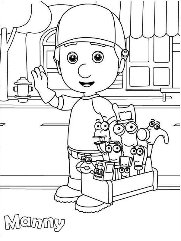 around town coloring pages   Handy Manny and Friends Around the Town Coloring Page ...