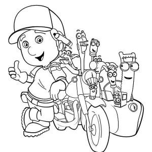 Handy Manny And Friends With His Motorcycle Coloring Page