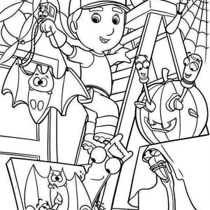 Handy Manny And Helloween Theme Coloring Page