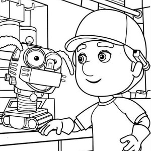 Handy Manny And Little Dog Robot Coloring Page