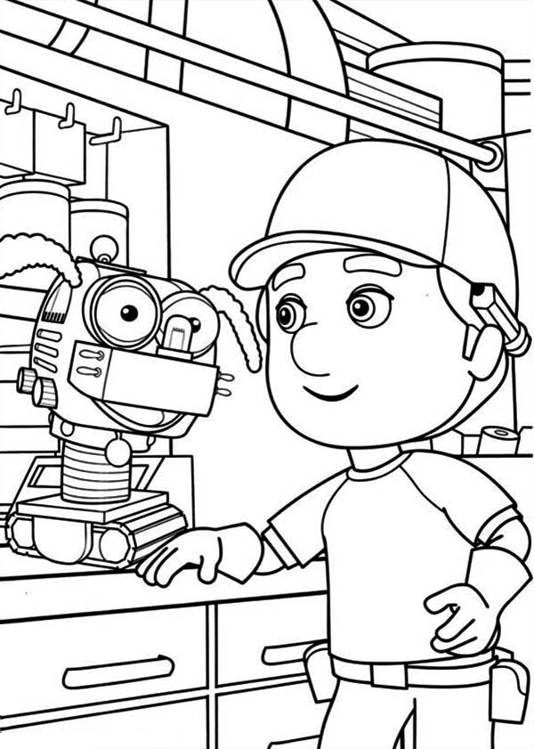 Handy Manny And Little Dog Robot Coloring Page Download Print