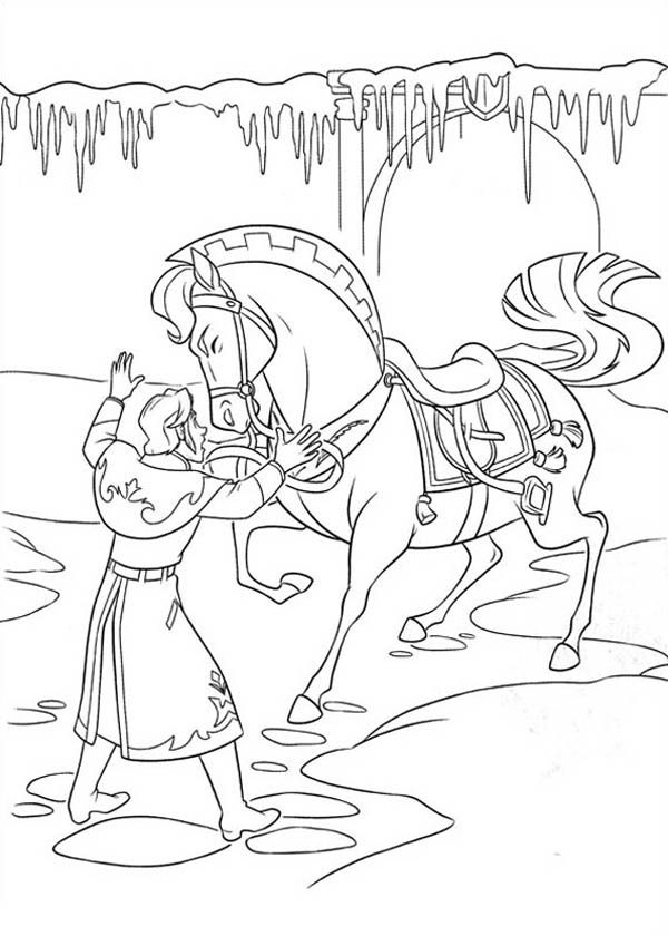 Kleurplaten Love Paarden Hans Is Trying To Settle The Horse Down Coloring Page