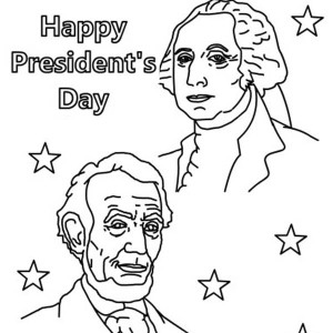 Happy Presidents Day With Lincoln And Washington Coloring Page