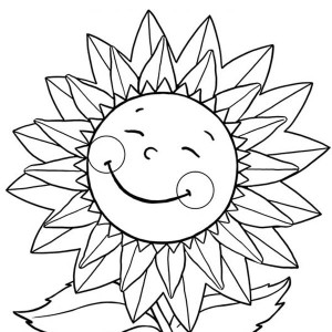 Happy Sunflower Coloring Page