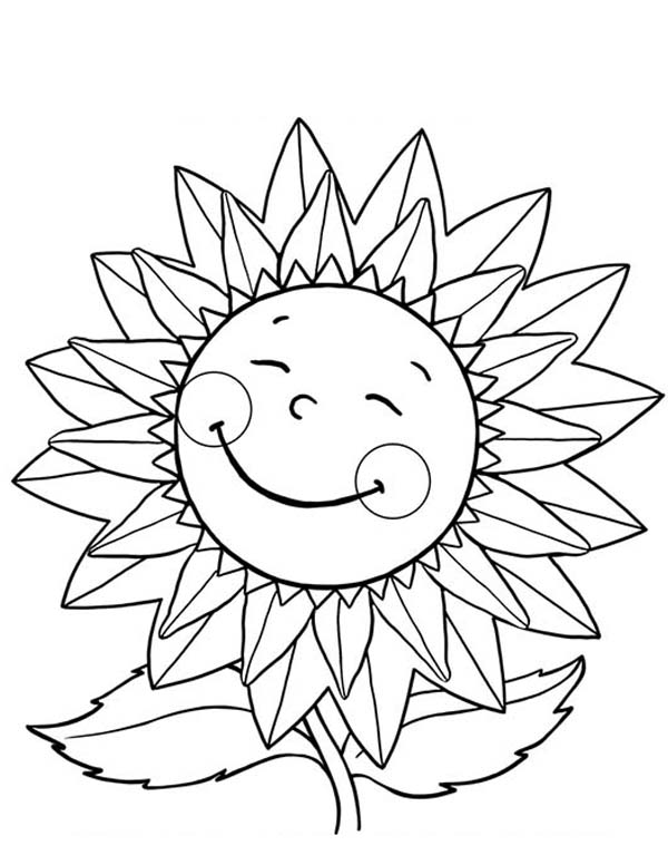 Happy Sunflower Coloring Page - Download & Print Online ...