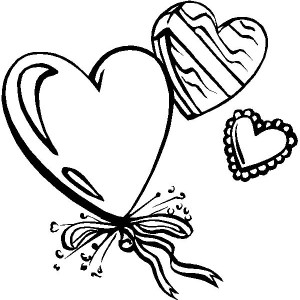 Heart Shaped Ballons For Valentine's Day Party Coloring Page