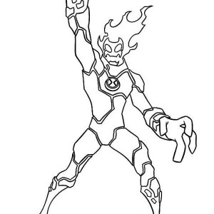 Heatblast Winning Position Coloring Page