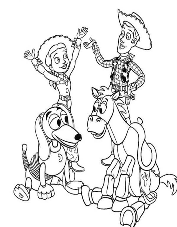 Jessie riding slinky dog while woddy riding bullseye for Bullseye coloring page