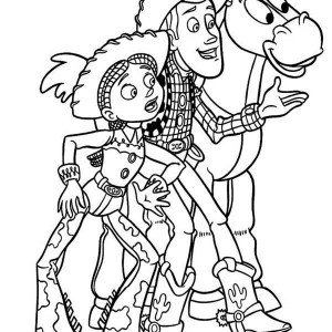 Jessie, Woddy And Bullseye In Toy Story Coloring Page