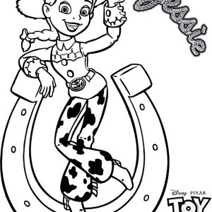 Jessie And A Horseshoe Tipping In Toy Story 3 Coloring Page
